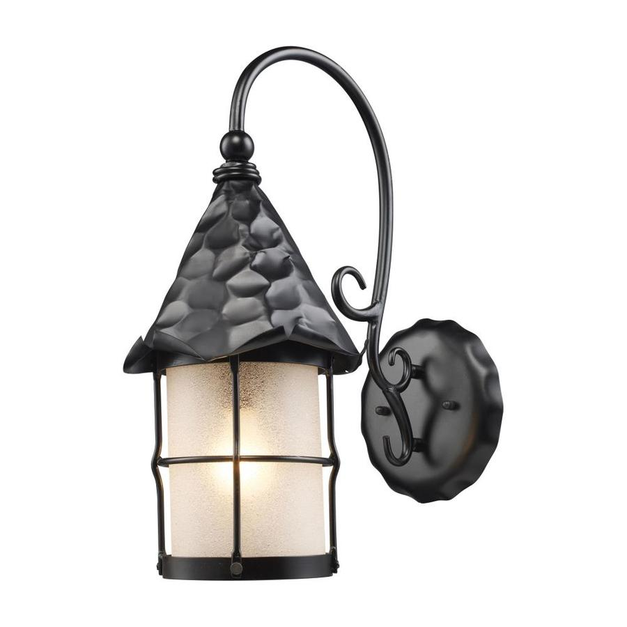 Rustic Wall Sconces Lowes : Shop Westmore Lighting Rustica 10-in W 1-Light Matte Black Arm Wall Sconce at Lowes.com