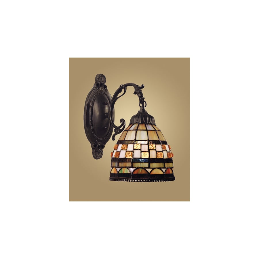 Westmore Lighting Jewelstone 7-in W 1-Light Classic Bronze Tiffany-Style Arm Hardwired Wall Sconce