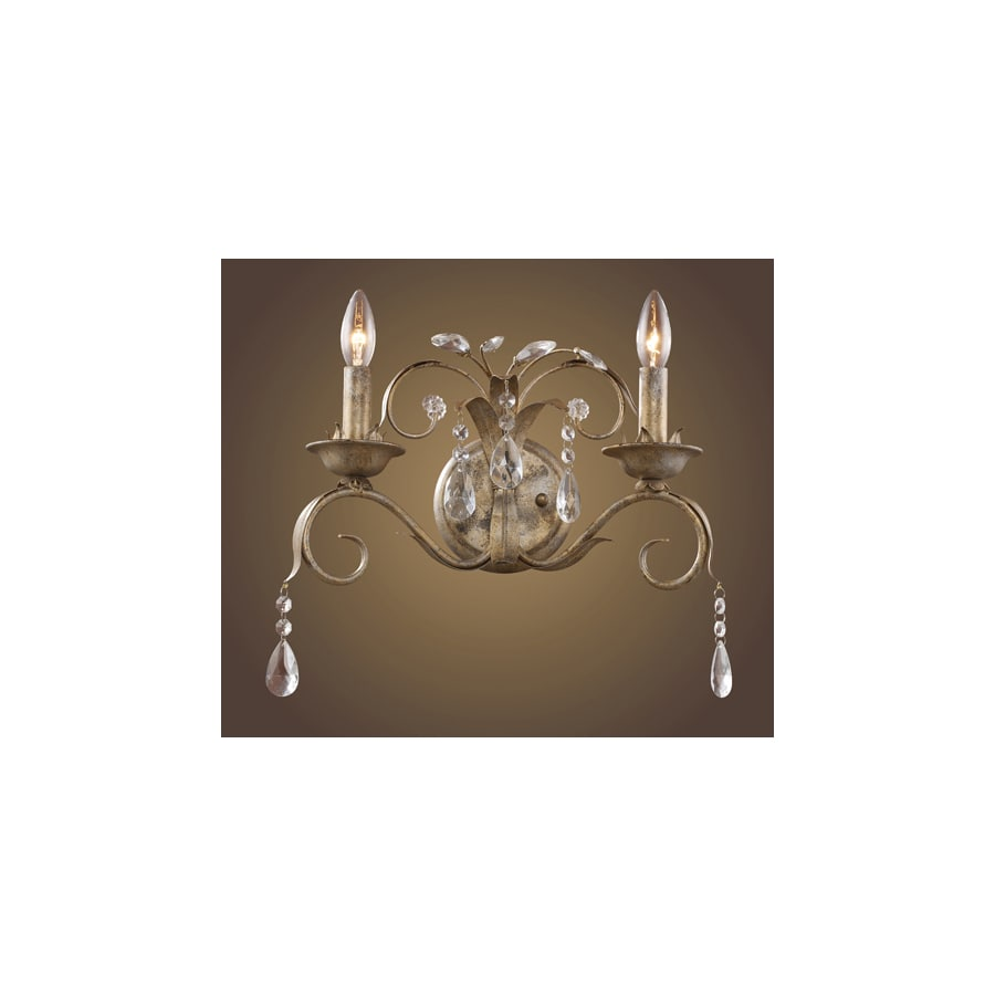 Westmore Lighting Angelite 16-in W 2-Light Weathered Silver Crystal Arm Hardwired Wall Sconce