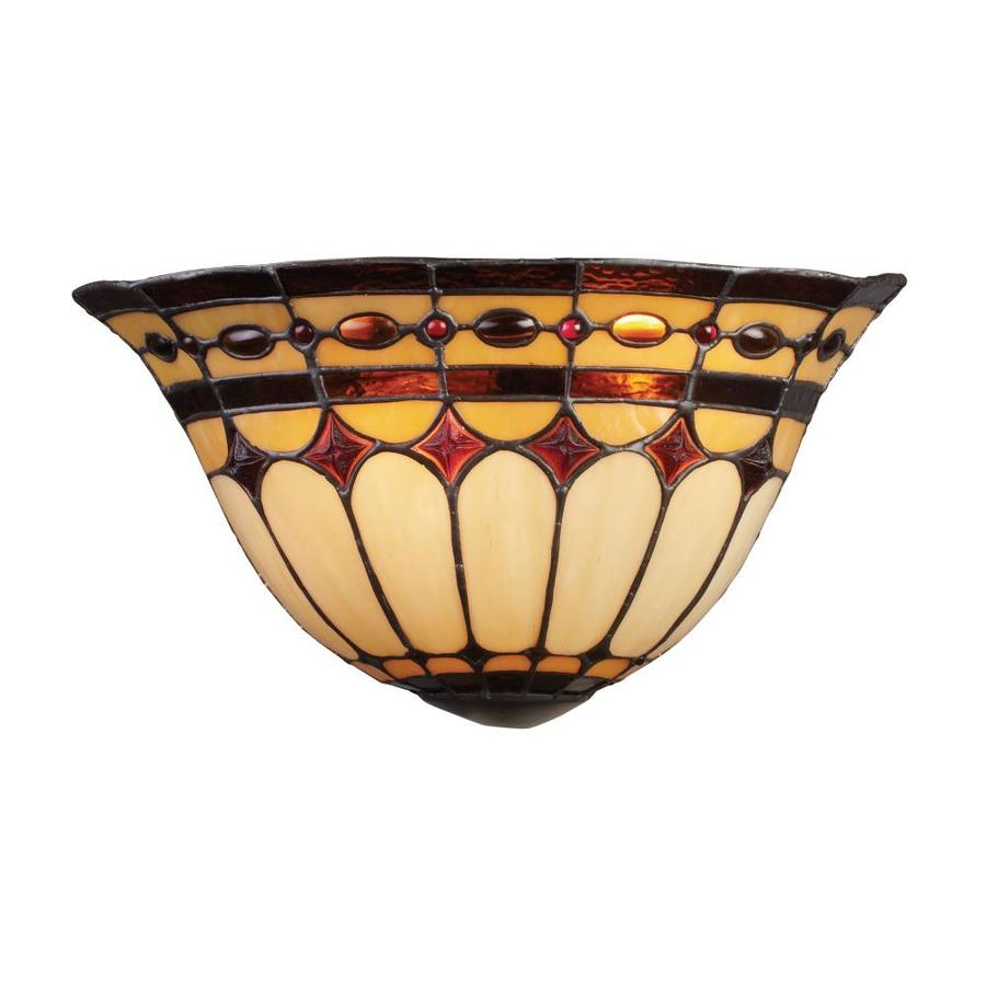 Westmore Lighting Diamond Ring 14-in W 2-Light Burnished Copper Tiffany-Style Pocket Hardwired Wall Sconce