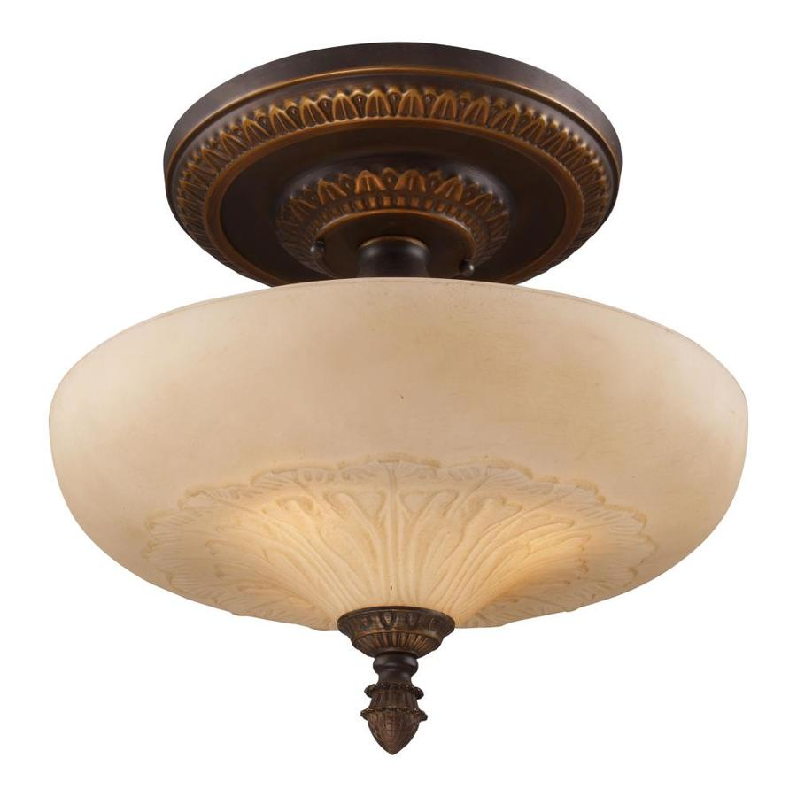 Westmore Lighting Westchester 15-in W Golden Bronze Frosted Glass Semi-Flush Mount Light