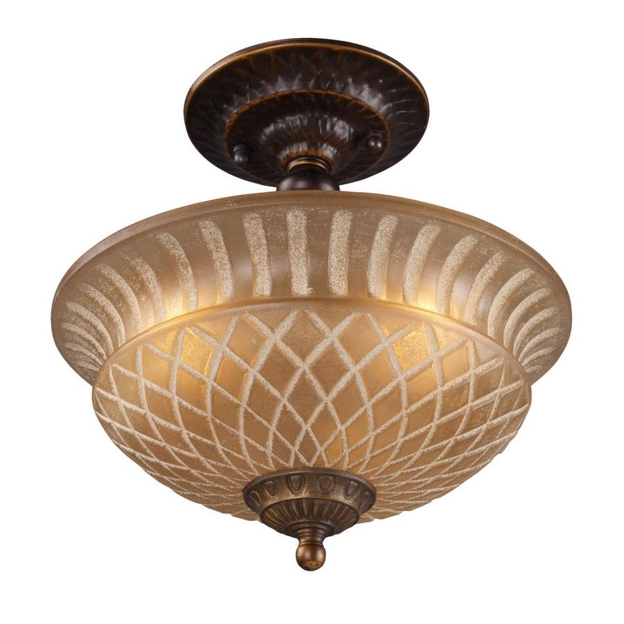 Westmore Lighting Westchester 10-in W Golden Bronze Frosted Glass Semi-Flush Mount Light