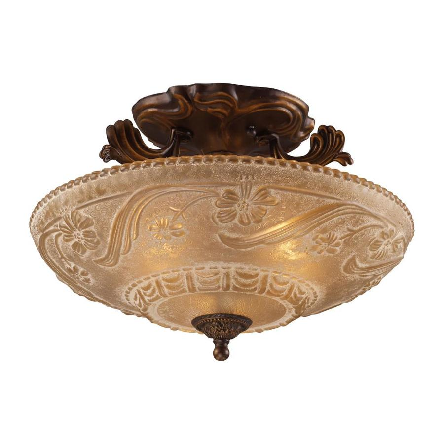 Westmore Lighting Westchester 16-in W Golden Bronze Frosted Glass Semi-Flush Mount Light