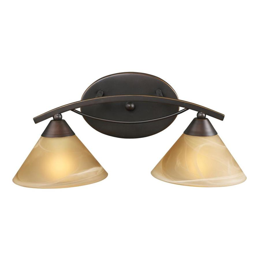 Westmore Lighting Beckett 2-Light 8-in Aged Bronze Cone Vanity Light