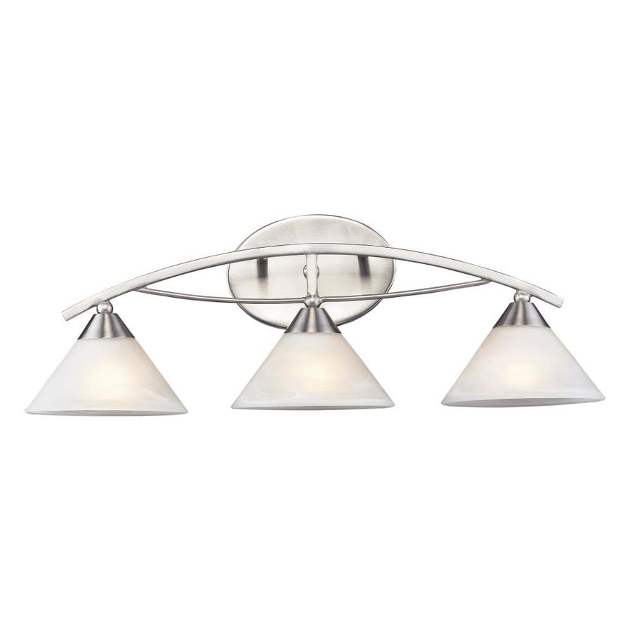 Westmore Lighting Beckett 3-Light 7-in Satin Nickel Cone Vanity Light