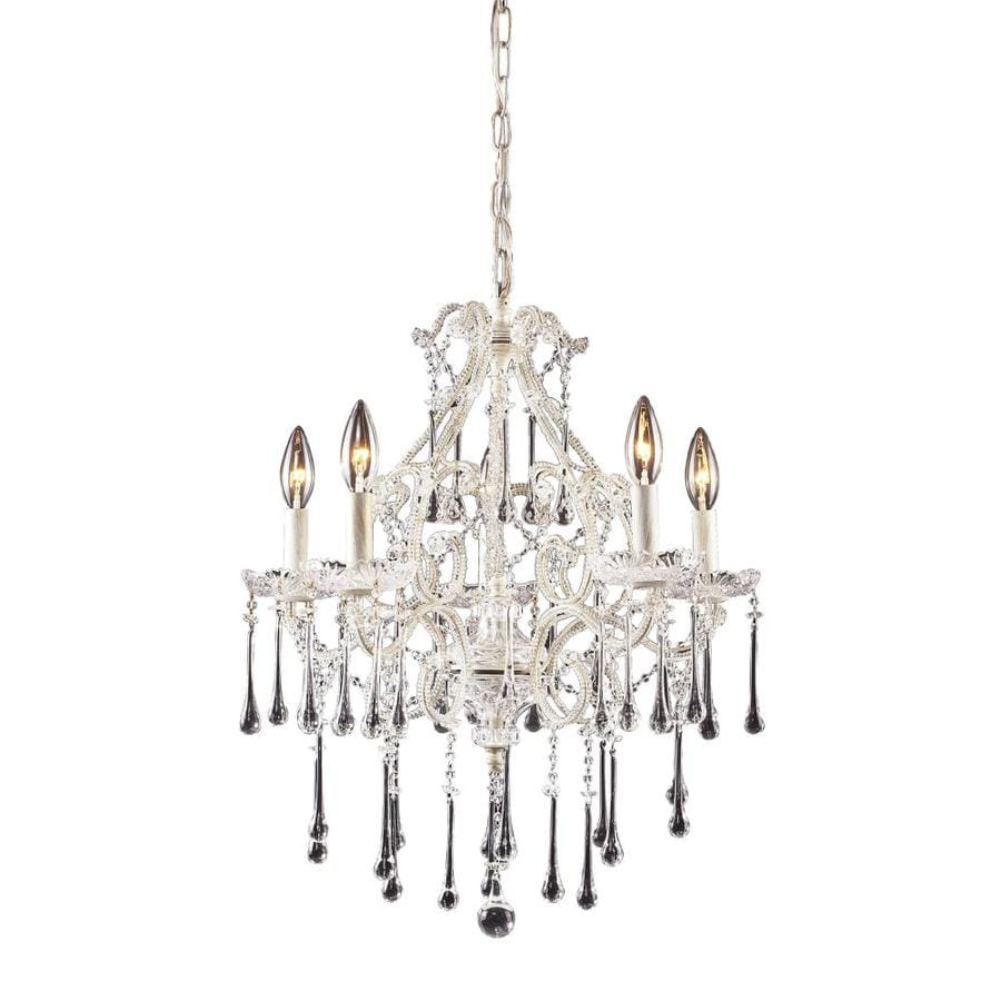 Westmore Lighting Whitehall 20-in 5-Light Antique White Crystal Draped Chandelier