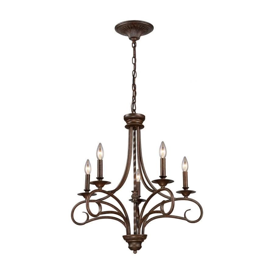 Westmore Lighting Topanga 24-in 5-Light Antique Bronze Candle Chandelier