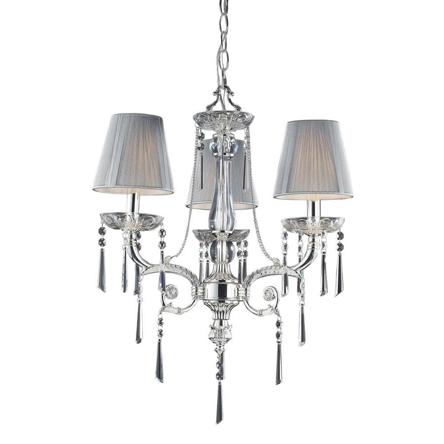 Westmore Lighting Mara 20-in 3-Light Polished Silver Crystal Shaded Chandelier