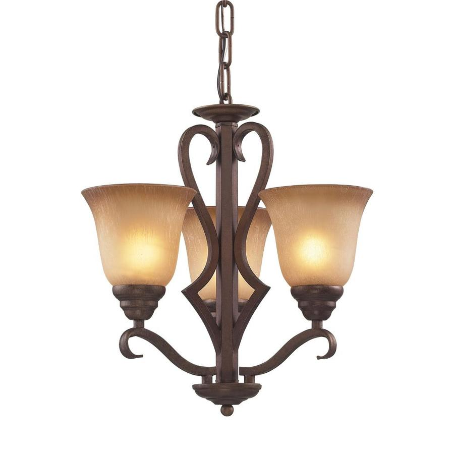 Westmore Lighting Laughlin 17-in 3-Light Mocha Tinted Glass Shaded Chandelier