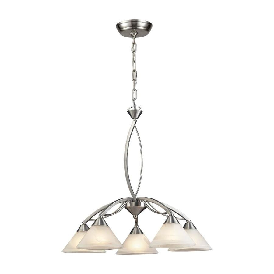 Westmore Lighting Beckett 25-in 5-Light Satin Nickel Marbleized Glass Shaded Chandelier