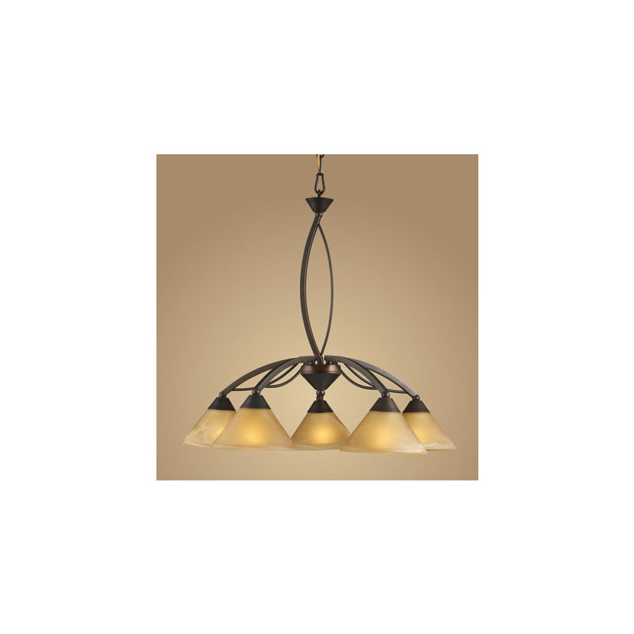 Westmore Lighting Beckett 25-in 5-Light Aged Bronze Tinted Glass Shaded Chandelier