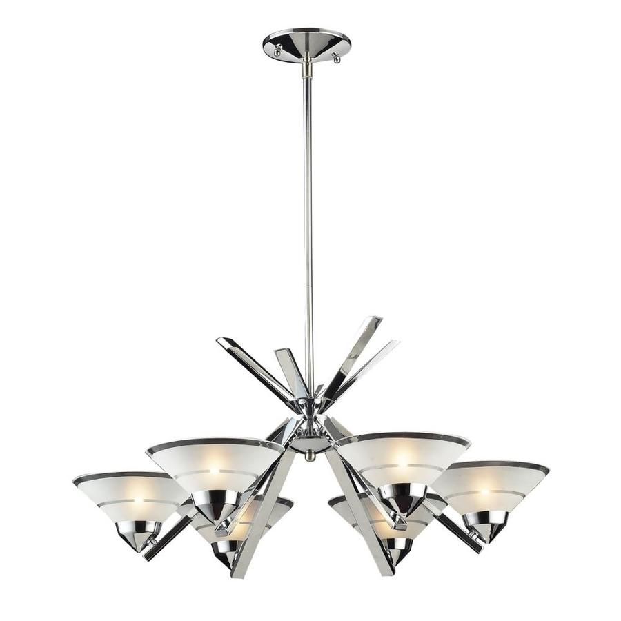Westmore Lighting Beryl 26-in 6-Light Polished Chrome Etched Glass Shaded Chandelier