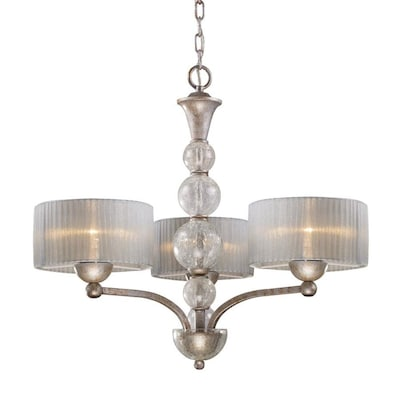 D Orsay 3 Light Antique Silver Modern Contemporary Shaded Chandelier