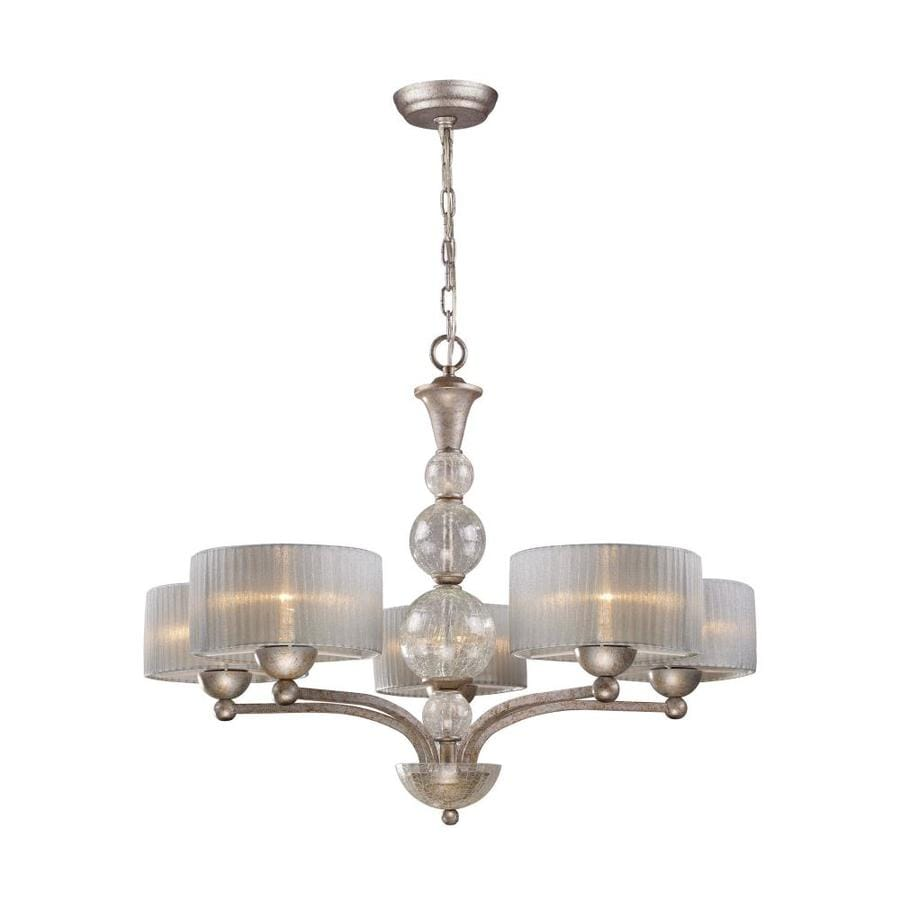 Westmore Lighting D'Orsay 32-in 5-Light Antique Silver Shaded Chandelier