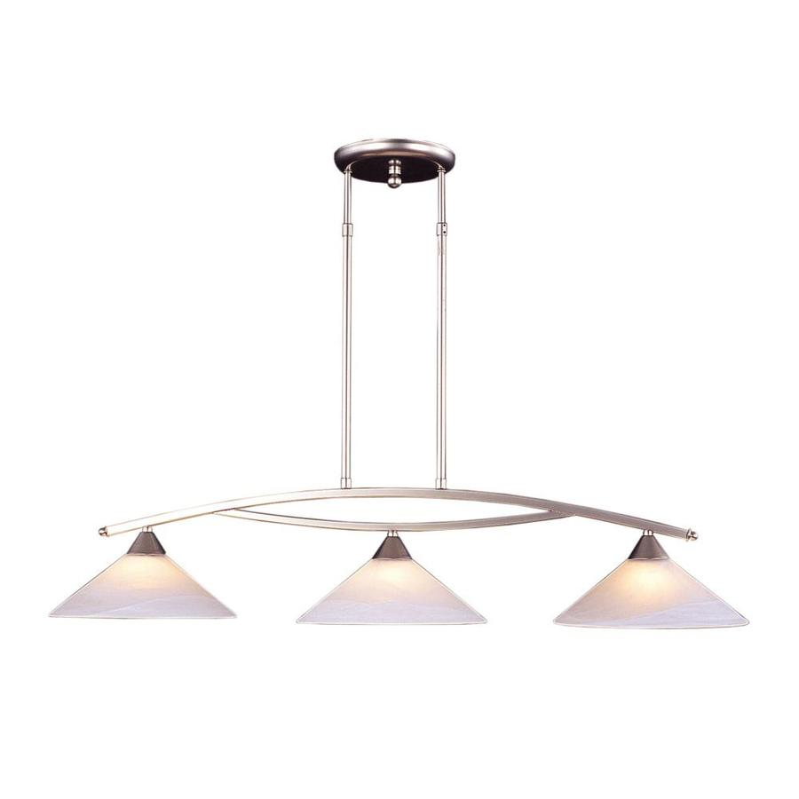 Westmore Lighting Beckett 43-in W 3-Light Satin Nickel Kitchen Island Light with White Shade