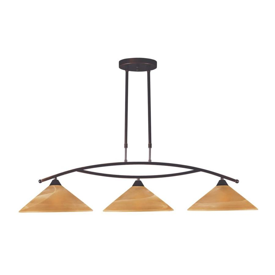 Westmore Lighting Beckett 43-in W 3-Light Aged Bronze Kitchen Island Light with Tinted Shade