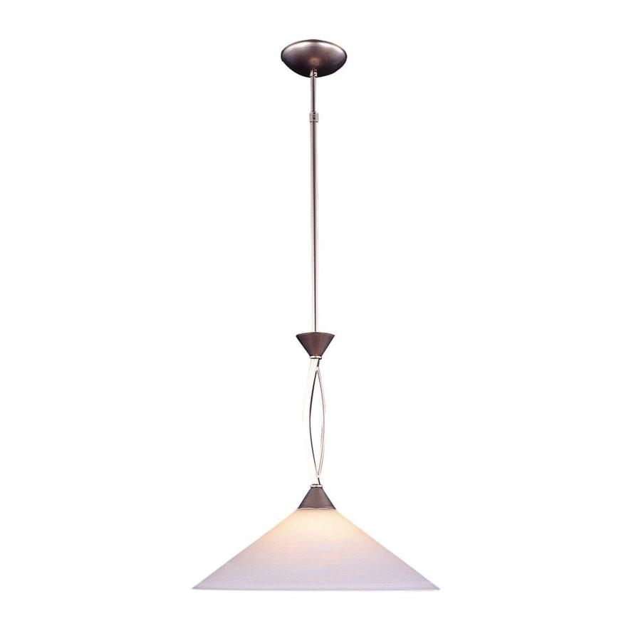 Westmore Lighting Beckett 16-in Satin Nickel Single Tinted Glass Cone Pendant