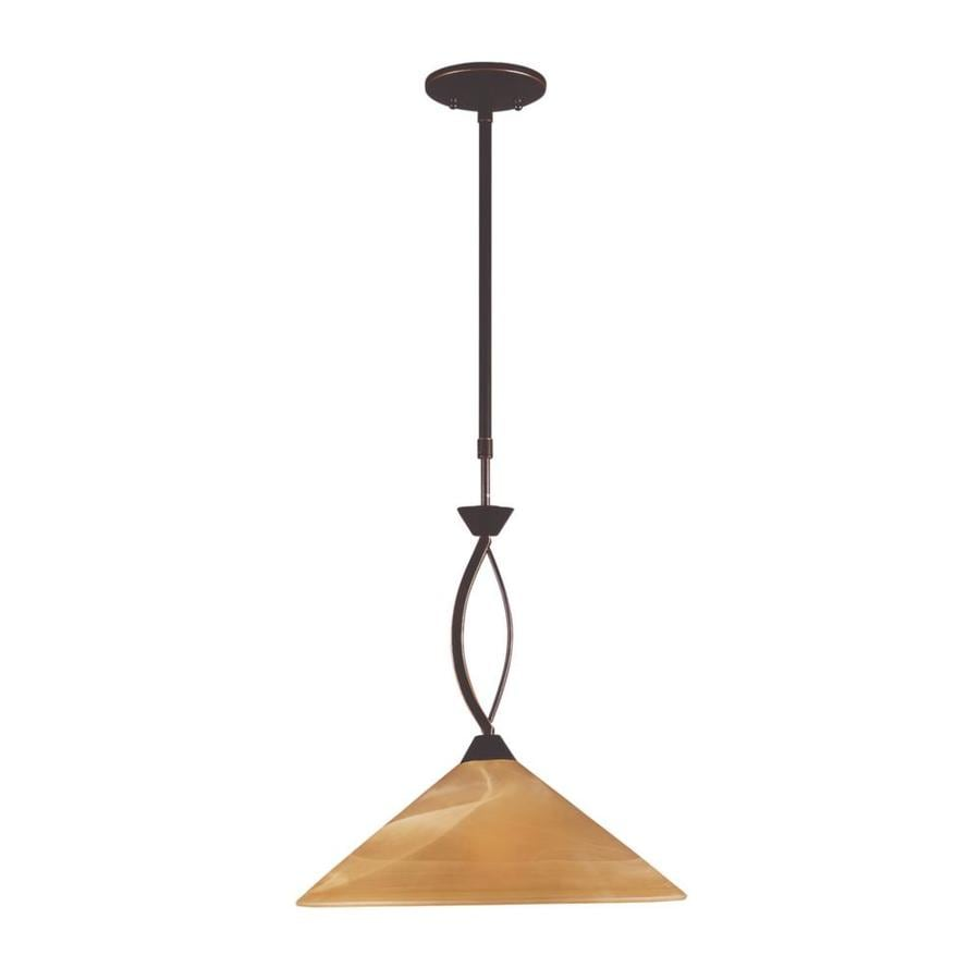 Westmore Lighting Beckett 16-in Aged Bronze Single Tinted Glass Cone Pendant