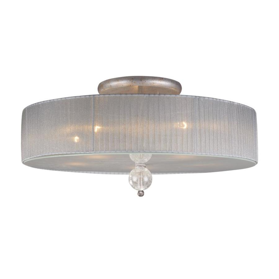 Westmore Lighting D'Orsay 23-in W Antique Silver Frosted Glass Semi-Flush Mount Light