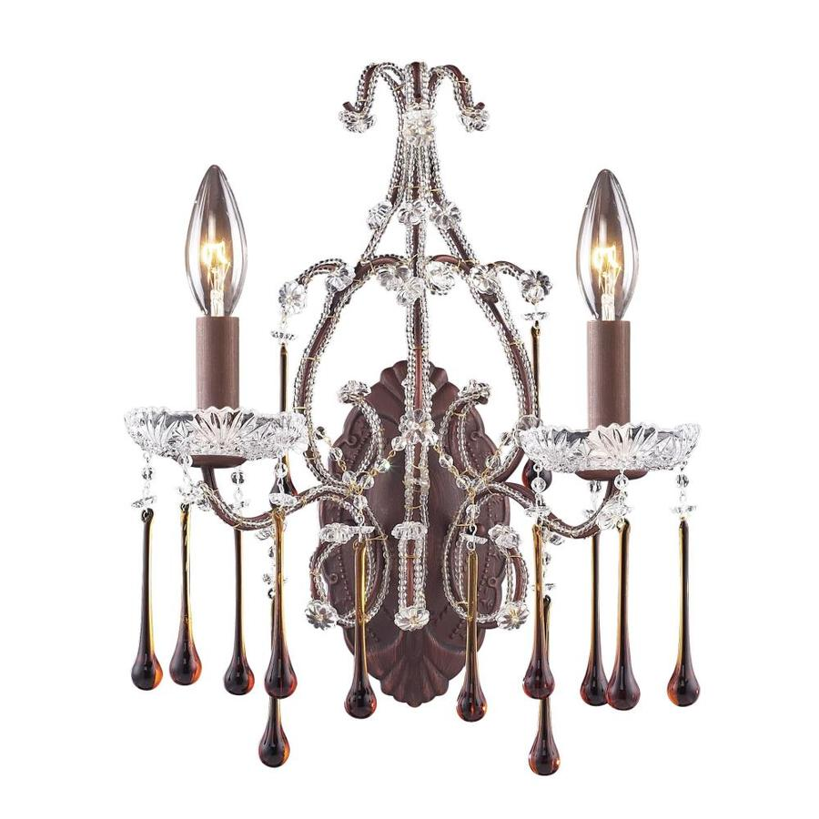 Westmore Lighting Opulence 12-in W 2-Light Rust Crystal Arm Wall Sconce