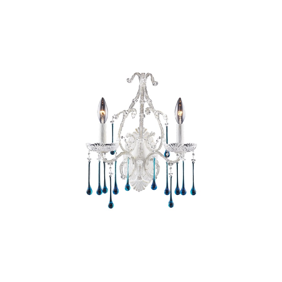 Westmore Lighting Opulence 12-in W 2-Light Antique White Crystal Arm Hardwired Wall Sconce