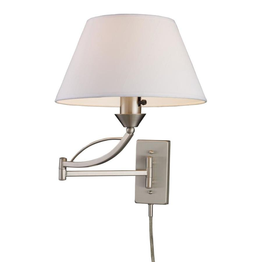 Lowes Wall Lights Plug In : Shop Westmore Lighting Elysburg 12-in W 1-Light Satin Nickel Arm Wall Sconce at Lowes.com