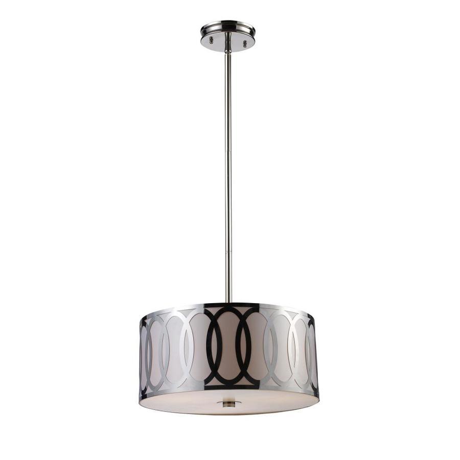 Westmore Lighting Brocke 18-in Polished Nickel Mini Tinted Glass Drum Pendant