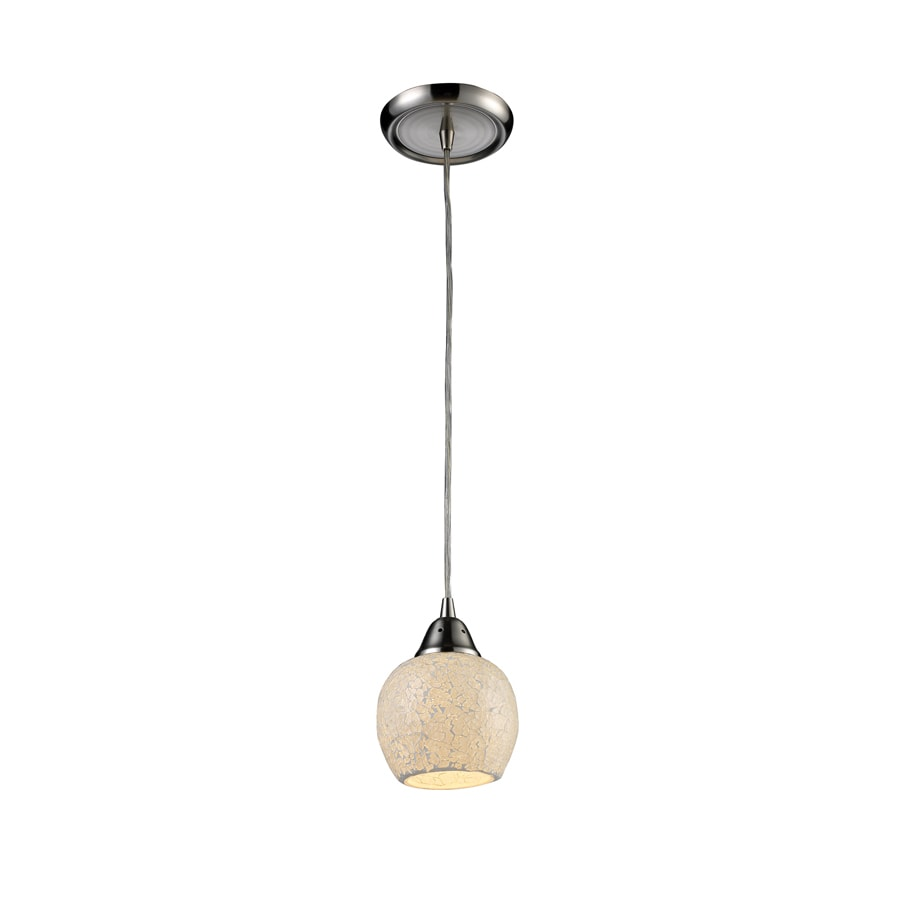 Westmore Lighting 5-in Satin Nickel Mini Textured Glass Globe Pendant
