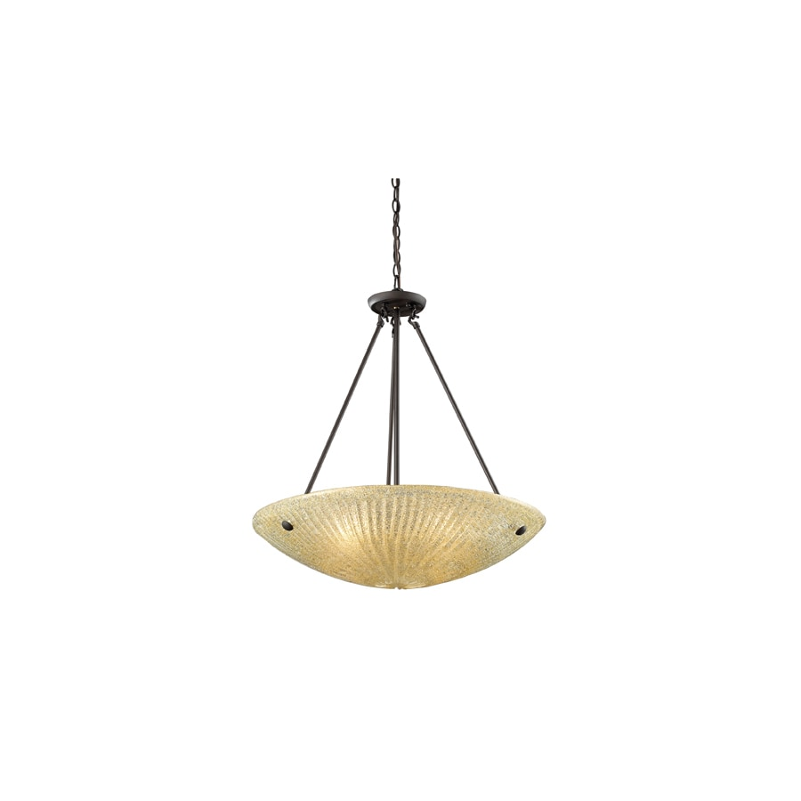 Westmore Lighting Sahara 24-in Aged Bronze Single Textured Glass Bowl Pendant