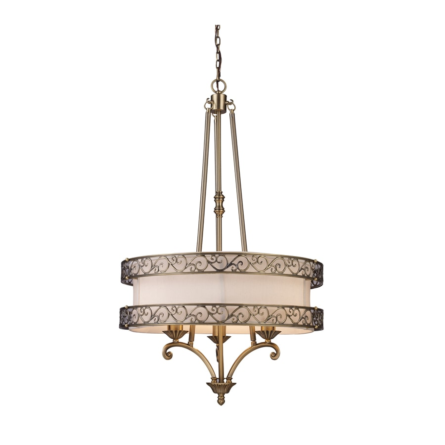 Westmore Lighting Pierre 24-in Antique Brass Single Drum Pendant