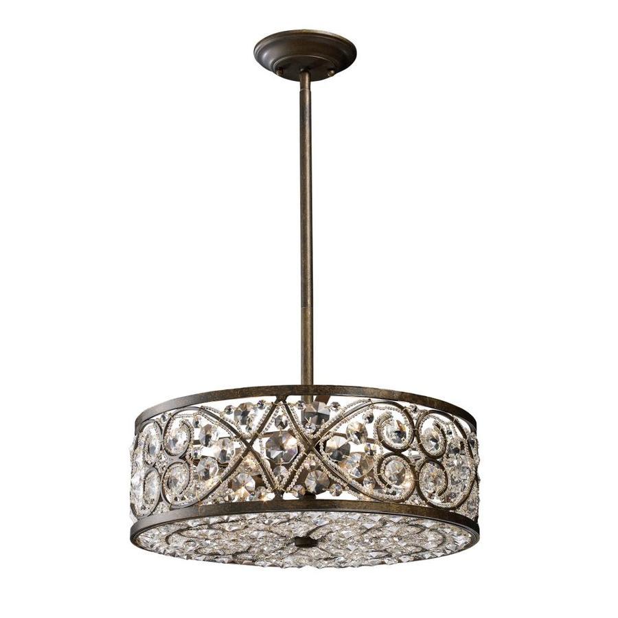 Westmore Lighting Karenina 17-in Antique Bronze Crystal Mini Crystal Drum Pendant
