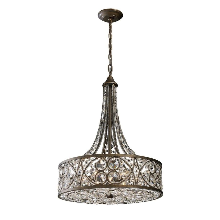 Westmore Lighting Karenina 20-in Antique Bronze Crystal Single Crystal Drum Pendant