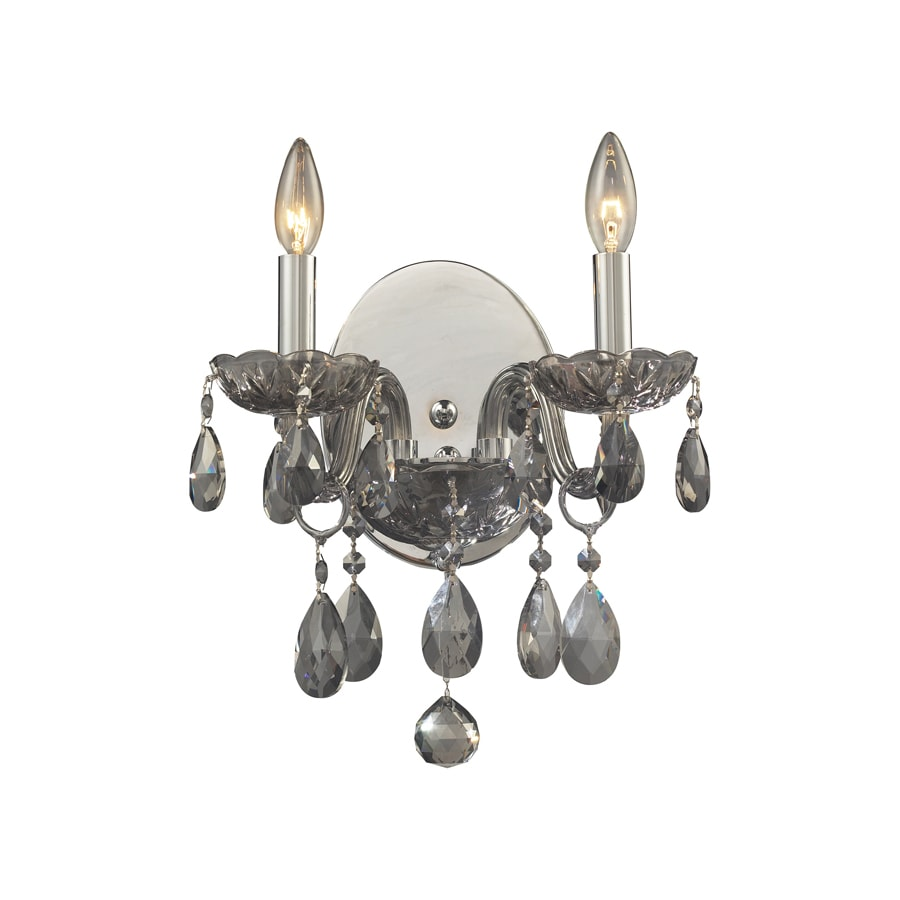 Westmore Lighting 12-in W 2-Light Silver Smoke Crystal Arm Wall Sconce
