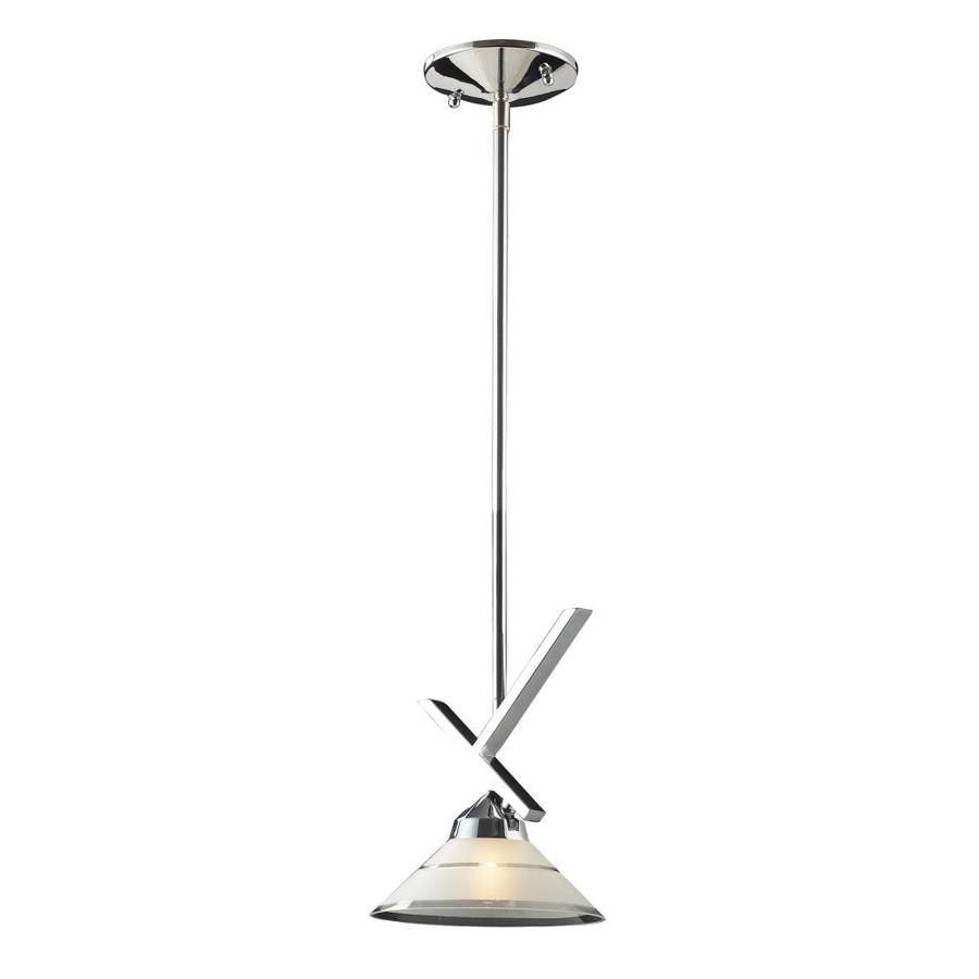 Westmore Lighting 7-in Polished Chrome Mini Etched Glass Cone Pendant