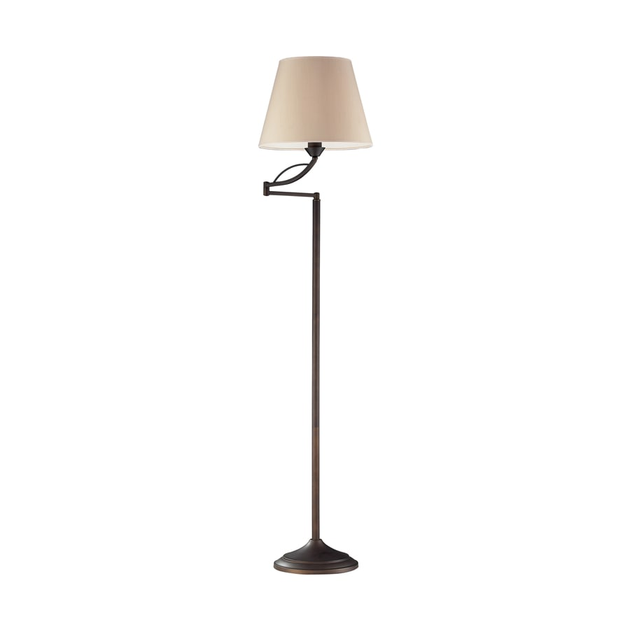 Westmore Lighting Beckett 56-in 3-Way Switch Aged Bronze Casual/Transitional Touch On/Off Shaded Floor Lamp Indoor Floor Lamp with Fabric Shade