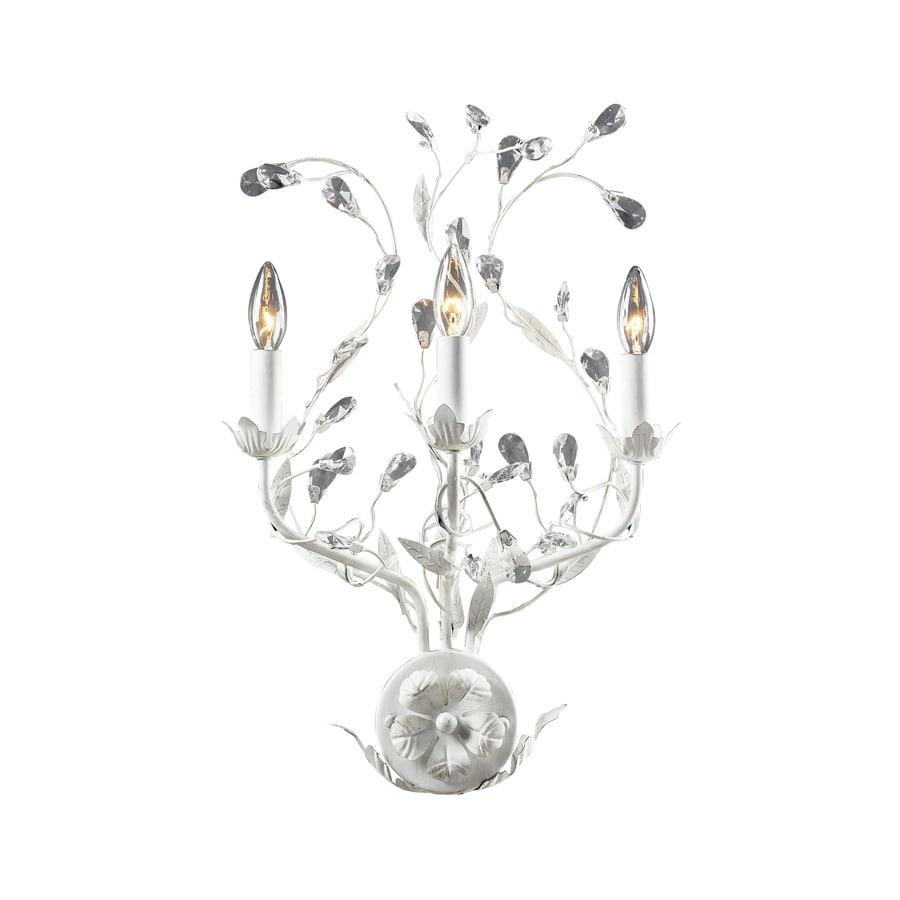 Westmore Lighting 15-in W 3-Light Antique White Crystal Arm Hardwired Wall Sconce