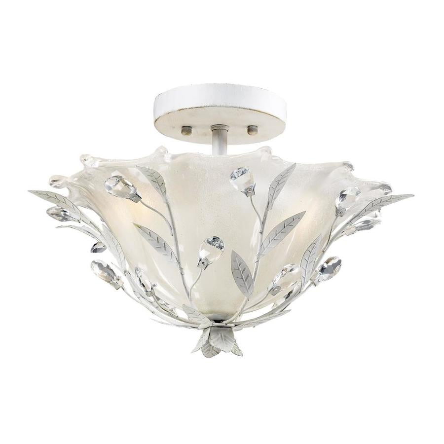 Westmore Lighting Faun 17-in W Antique white Frosted Glass Semi-Flush Mount Light
