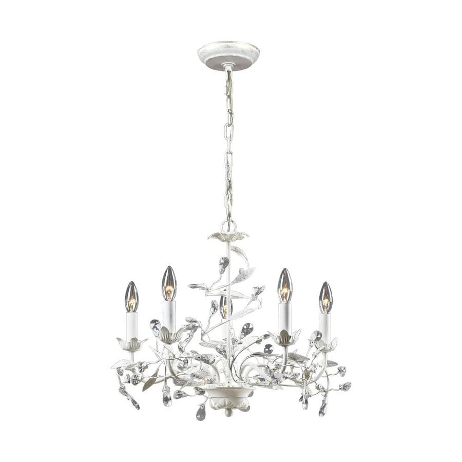 Shop westmore lighting faun 21 in 5 light antique white Crystal candle chandelier