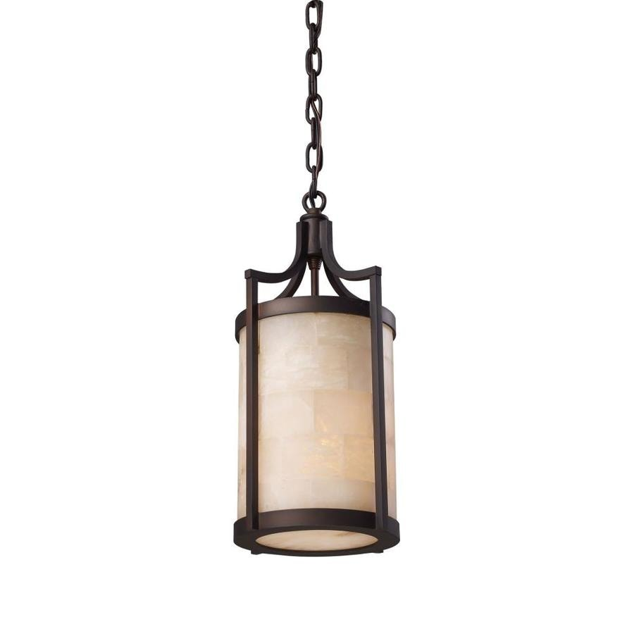 Westmore Lighting Braga 9-in Aged Bronze Rustic Single Textured Glass Cylinder Pendant