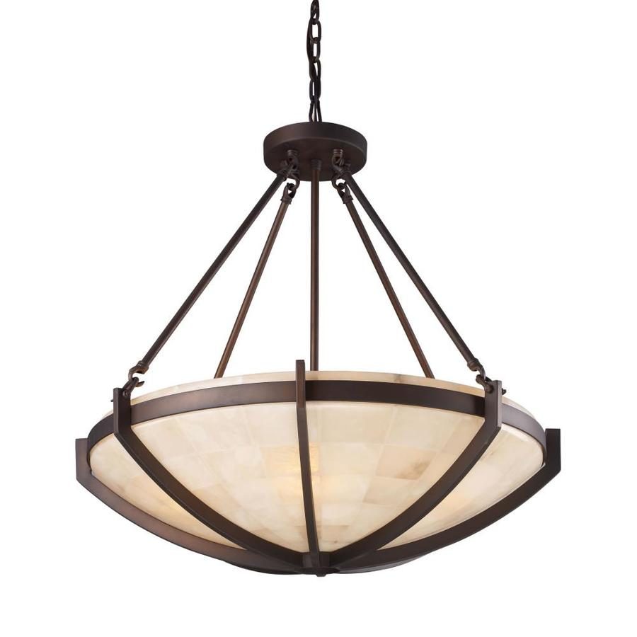 Westmore Lighting Braga 26-in Aged Bronze Rustic Single Textured Glass Bowl Pendant
