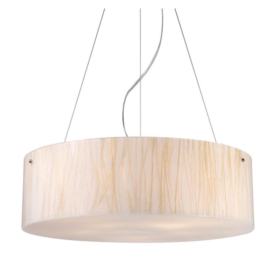 Westmore Lighting Malabon 24-in Polished Chrome Mini Textured Glass Drum Pendant