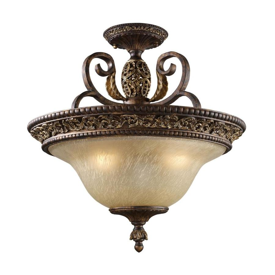 Westmore Lighting Hearst 19-in W Burnt bronze Tea-stained Glass Semi-Flush Mount Light