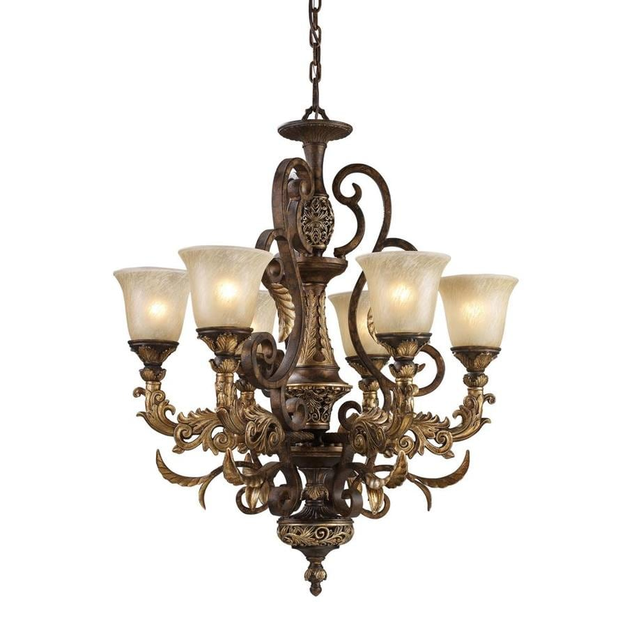 Westmore Lighting Hearst 28-in 6-Light Burnt Bronze Tinted Glass Shaded Chandelier