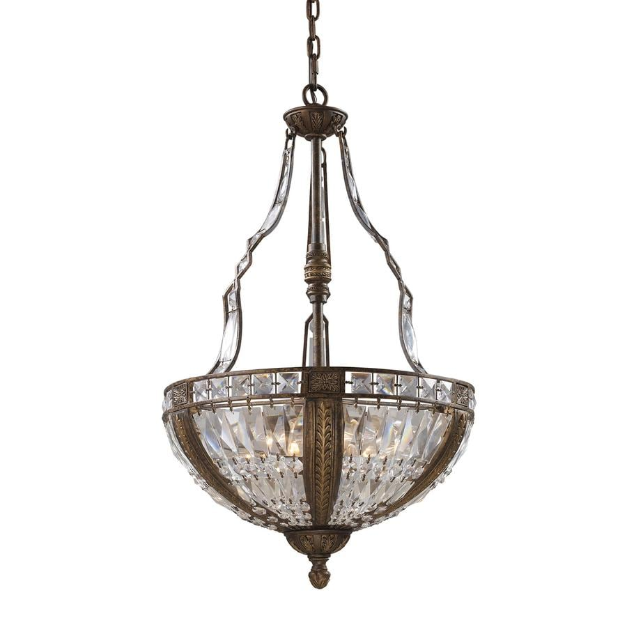 Westmore Lighting So Paulo 19-in Antique Bronze Crystal Single Crystal Bowl Pendant