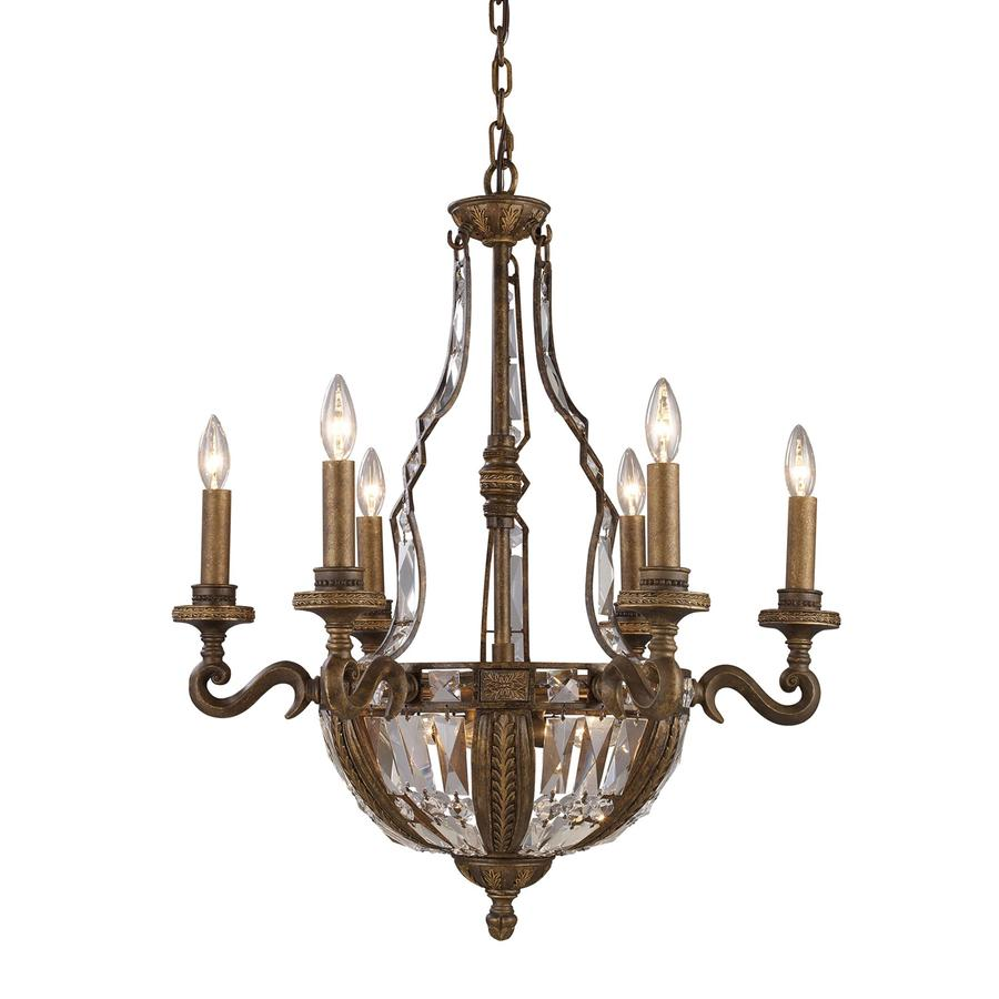Westmore Lighting So Paulo 25-in 10-Light Antique Bronze Crystal Candle Chandelier
