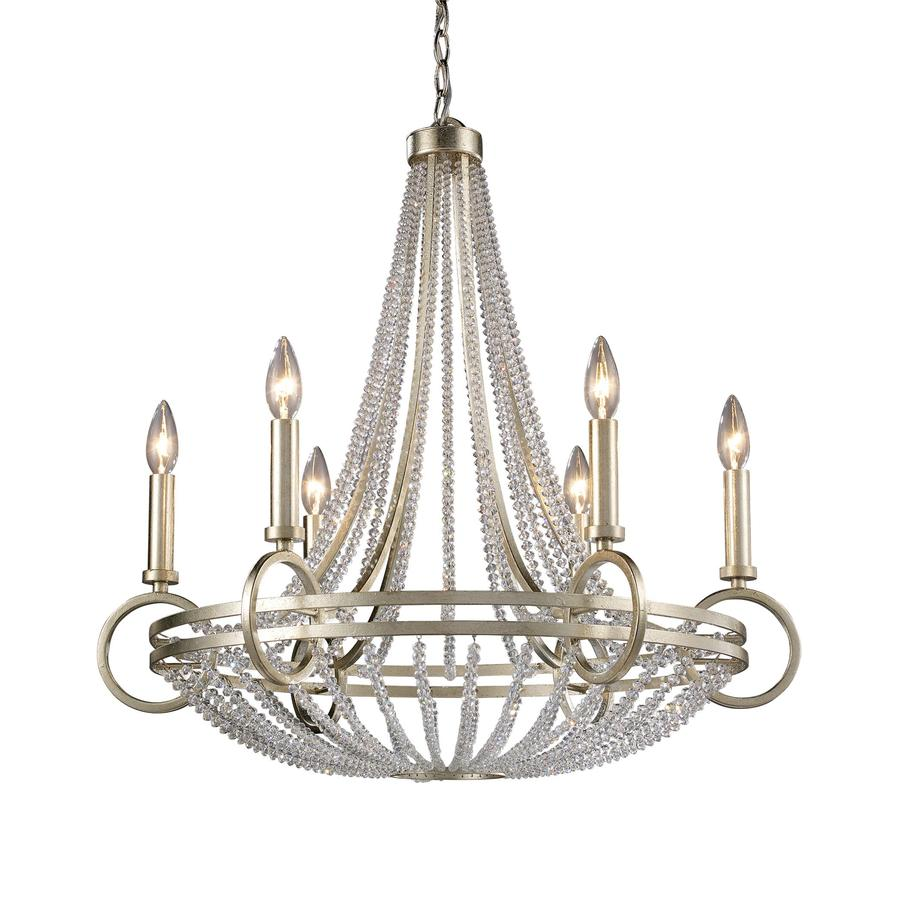 Westmore Lighting Corby 27-in 6-Light Renaissance Silver Crystal Empire Chandelier