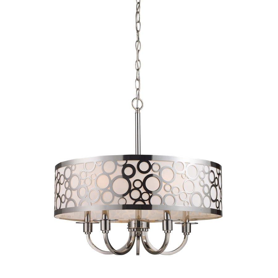 Westmore Lighting Galicia 24-in 5-Light Polished Nickel Textured Glass Drum Chandelier