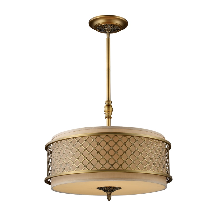 Westmore Lighting Broughton 21-in Brushed Antique Brass Vintage Single Drum Pendant