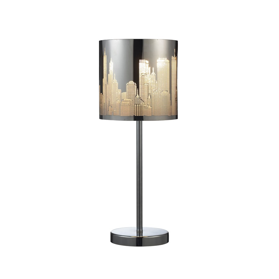 Westmore Lighting 20-in Polished Stainless Steel Indoor Table Lamp with Metal Shade