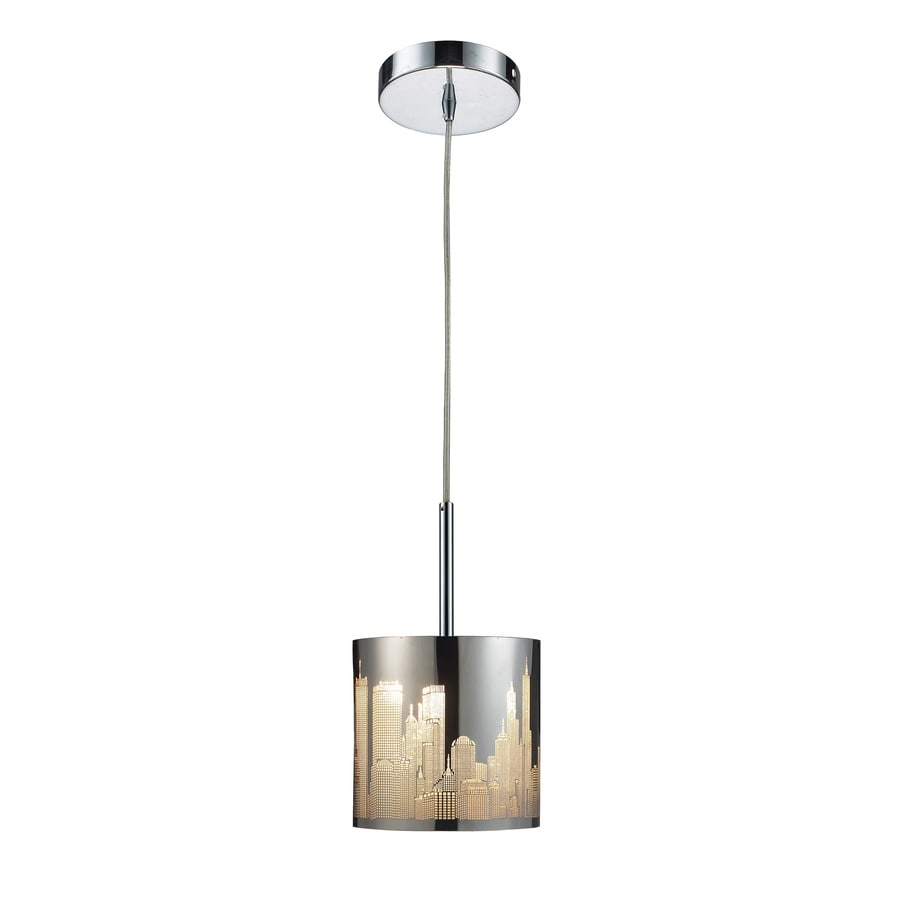 Westmore Lighting 8-in Polished Stainless Steel Novelty Mini Textured Glass Cylinder Pendant